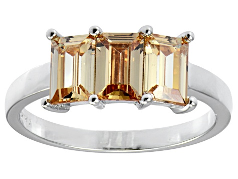 Bella Luce® 3ctw Emerald Cut Champagne Diamond Simulant Sterling Silver Ring
