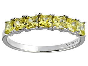 Bella Luce® 1ctw Cushion Yellow Diamond Simulant Sterling Silver 7 Stone Ring