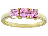 Bella Luce® Pink Diamond Simulant 18k Gold Over Sterling Silver 3 Stone Ring