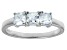 Bella Luce® Cushion White Diamond Simulant Sterling Silver 3 Stone Ring