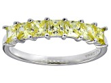 Bella Luce® 2.10ctw Princess Cut Yellow Diamond Simulant Sterling Silver Ring