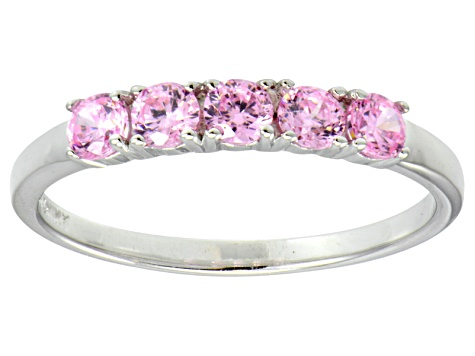 Bella Luce® .90ctw Round Pink Diamond Simulant Sterling Silver Ring