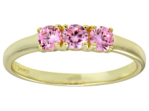 Bella Luce® Round Pink Diamond Simulant 18k Gold Over Sterling Silver Ring