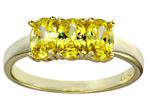 Bella Luce® Yellow Diamond Simulant 18k Gold Over Sterling Silver 3 Stone Ring