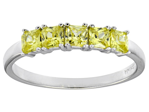 Bella Luce® 1ctw Cushion Yellow Diamond Simulant Sterling Silver 5 Stone Ring