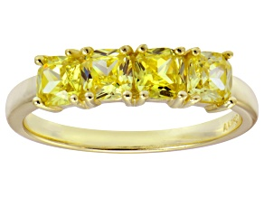 Bella Luce® Yellow Diamond Simulant 18k Gold Over Sterling Silver 4 Stone Ring