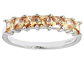 Bella Luce® Princess Cut Champagne Diamond Simulant Sterling Silver Ring