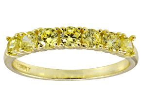 Bella Luce® Round Yellow Diamond Simulant 18k Gold Over Sterling Silver Ring