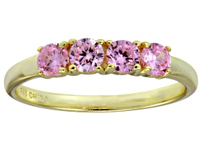 Bella Luce® 1.16ctw Pink Diamond Simulant 18k Gold Over Sterling Silver Ring