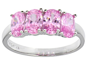 Bella Luce® 2.92ctw Oval Pink Diamond Simulant Sterling Silver 4 Stone Ring