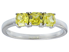 Bella Luce® 1.5ctw Cushion Yellow Diamond Simulant Sterling Silver Ring