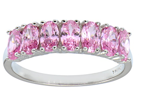Bella Luce® 2.45ctw Oval Pink Diamond Simulant Sterling Silver 7 Stone Ring