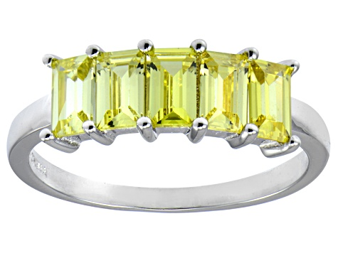 Bella Luce® 2.50ctw Emerald Cut Yellow Diamond Simulant Sterling Silver Ring