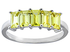 Yellow Emerald Cut Cubic Zirconia Rhodium Over Sterling Silver Ring 2.50ctw