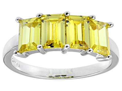 Bella Luce® 4.52ctw Emerald Cut Yellow Diamond Simulant Sterling Silver Ring