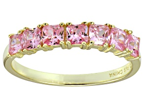 Bella Luce® Pink Diamond Simulant 18k Gold Over Sterling Silver 7 Stone Ring