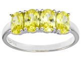 Bella Luce® 2.92ctw Oval Yellow Diamond Simulant Sterling Silver 4 Stone Ring
