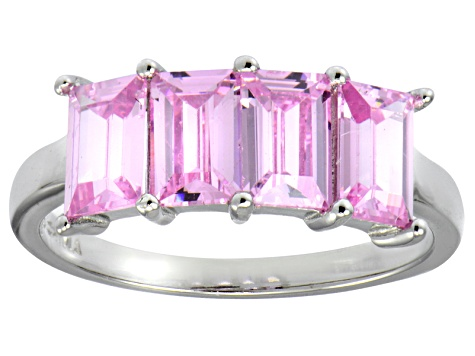 Bella Luce® Emerald Cut Pink Diamond Simulant Sterling Silver 4 Stone Ring