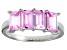 Bella Luce® Emerald Cut Pink Diamond Simulant Sterling Silver 4 Stone Ring