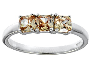 Bella Luce® 1.5ctw Cushion Champagne Diamond Simulant Sterling Silver Ring