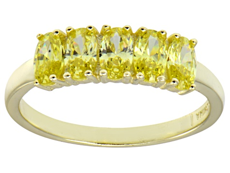 Bella Luce® Yellow Diamond Simulant 18k Gold Over Sterling Silver 5 Stone Ring