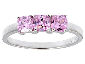 Bella Luce® 1.5ctw Cushion Pink Diamond Simulant Sterling Silver 3 Stone Ring