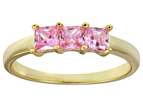 Bella Luce® Pink Diamond Simulant 18k Gold Over Sterling Silver Ring