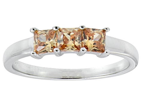 Bella Luce® Princess Cut Champagne Diamond Simulant Sterling Silver Ring