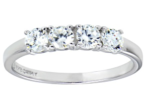 Bella Luce® .1.16ctw Round White Diamond Simulant Sterling Silver Ring