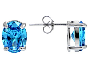 Bella Luce® Esotica™ 6.32ctw Neon Apatite Simulant Sterling Silver Stud Earrings