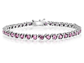 Bella Luce® 7.56ctw Pink Diamond Rhodium Over Silver Tennis Bracelet