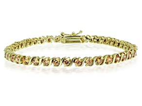 Bella Luce® 7.56ctw Champagne Diamond Simulant 18k Gold Over Silver Bracelet