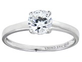 Bella Luce® 1.43ctw Round Diamond Simulant Rhodium Over Silver Solitaire Ring