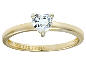 Bella Luce® .75ct Heart Shape Diamond Simulant 18k Gold Over Silver Ring