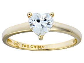 Bella Luce® 1.25ct Heart Shape Diamond Simulant 18k Gold Over Silver Ring