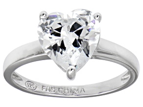 Bella Luce® 4.10ct Heart Shape Diamond Simulant Rhodium Over Silver Ring