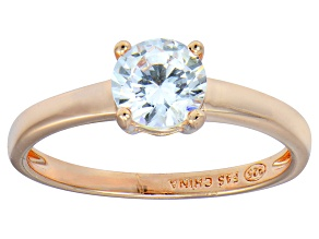 Bella Luce® 1.43ctw Round Diamond Simulant 18k Rose Gold Over Silver Ring