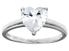 Bella Luce® 2.90ct Heart Shape Diamond Simulant Rhodium Over Silver Ring