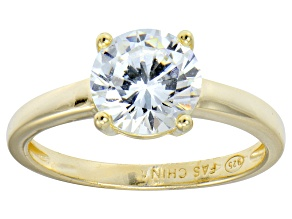Bella Luce® 3.46ctw Round Diamond Simulant 18k Gold Over Silver Solitaire Ring