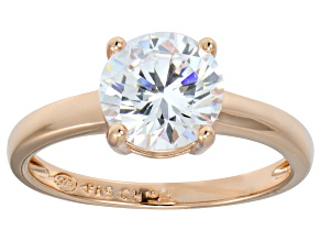 Bella Luce® 3.46ctw Round Diamond Simulant 18k Gold Rose Over Silver Ring