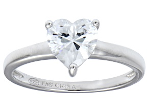 Bella Luce® 1.92ct Heart Shape Diamond Simulant Rhodium Over Silver Ring