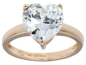 Bella Luce® 5.38ct Heart Diamond Simulant 18k Rose Gold Over Silver Ring
