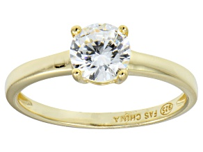 Bella Luce® 1.43ctw Round Diamond Simulant 18k Gold Over Silver Solitaire Ring