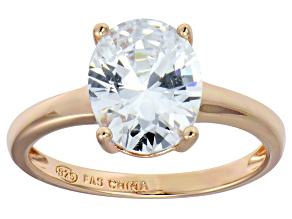 Bella Luce® 4.31ct Oval Diamond Simulant 18k Rose Gold Over Silver Ring