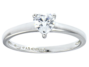 Bella Luce® .75ct Heart Shape Diamond Simulant Rhodium Over Silver Ring