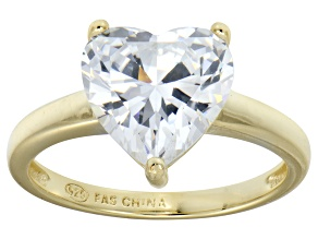 Bella Luce® 5.38ct Heart Diamond Simulant 18k Gold Over Silver Solitaire Ring