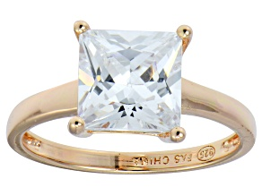 Bella Luce® 5.10ct Princess Cut Diamond Simulant 18k Rosegold Over Silver Ring