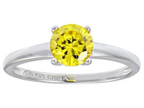 Bella Luce® 1.43ct Yellow Diamond Simulant Rhodium Over Silver Solitaire Ring