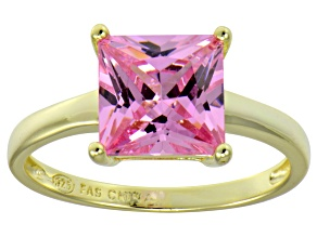 Bella Luce® 5.12ct Pink Diamond Simulant 18k Gold Over Silver Solitaire Ring