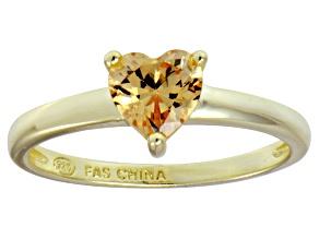 Bella Luce® 1.25ct Champagne Diamond Simulant 18k Gold Over Silver Ring